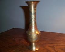 Vintage Etched Brass India Vase