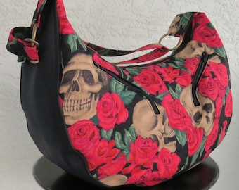 Skulls in Roses SHEENA Hobo Bag