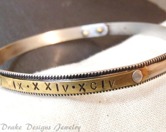 Personalized bangle sterling silver bracelet with brass or gold fill womens graduation gift custom Roman numeral custom name or date