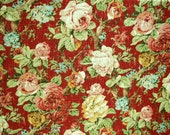 Floral home decor fabric, Fabric by the yard, large floral print drapery fabric, woven textured print fabric