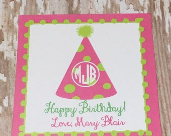 Gift card enclosure, birthday tag, birthday gift tag, gift sticker, party hat sticker, happy birthday tag, preppy gift enclosure