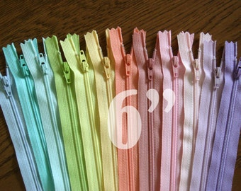"pastel zippers colorful zippers wholesale zippers nylon zippers 6 inch zippers ykk zippers assorted zippers 6"" zippers"