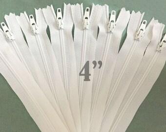 "white zippers bulk zippers wholesale zippers nylon zippers 4 inch zippers ykk zippers 4"" zippers 4 inch ykk zippers - 10 pieces"