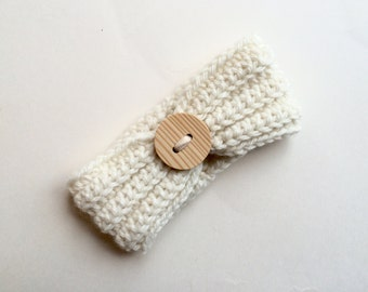 Crochet cream headband with wood button, baby girl headband, photo prop