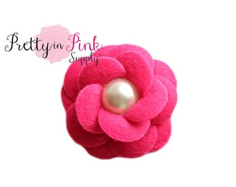 HOT PINK Layered Felt Flower with Pearl Center- Headband Supplies- Fabric Flowers- Supply Shop- DIY Headband Supplies- Felt Fabric Flower