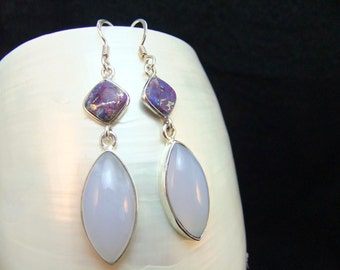Drop Earrings, Purple Turquoise & Opal Sterling Silver Birthstone Earrings, Fine Jewelry, Handmade Gemstone Unique Design Gemstone Drops