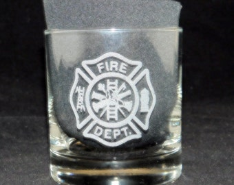Fireman Fueled by Fire Driven by Courage on the rocks glass, fireman gift, firefighter gift, fire station, fireman glass, fireman