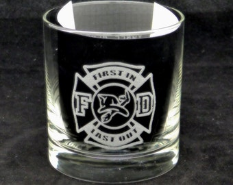 Fireman, First In Last Out one alarm two alarm three alarm on the rocks glass, fireman gift, firefighter, firestation, Christmas gift