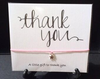 Wish String Bracelet 'thankyou' love greetings card Friendship Charm #85