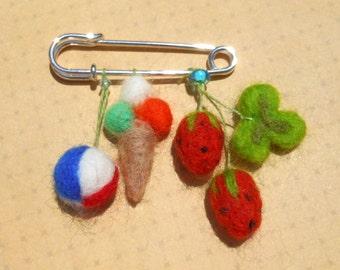 Needle felted seasonal brooch: summer