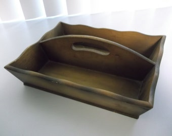 Small Wood Cutlery Tray/Carrier