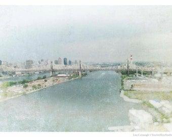 Queensboro Bridge, LIC, Queens, Queensborough, Photography, Bridge, Blue, Water, FREE SHIPPING!