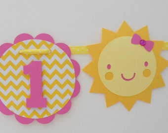 Lil' Sunshine Girl Highchair Banner - I am One - I am 1 - 1st Birthday - Candy Pink, Yellow Chevron, Yellow