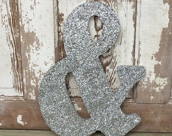 "18"" Decorative Silver Glitter & Ampersand Wall Letter, Wedding Engagement, Photo Prop"