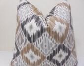 Brown- Fawn- Gray - Ikat Pillow Cover- - Ikat Pattern -  throw pillow  - Brown Ikat Cushion