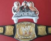 WWE SUPERSTARS Cake Topper includes cupcake topper pick birthday bachelor party The Miz Randy Orton John Cena wrestling championship belt