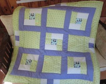 Panda Garden 2 baby quilt