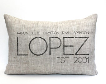 """family pillow, name pillow, date pillow, anniversary gift, wedding gift, mother's day gift, christmas gift - """"The Lopez"""""""