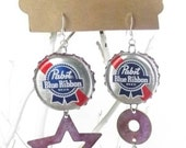 Pabst Blue Ribbon Bottle Cap Earrings PBR  BEERings Upcycled Jewelry