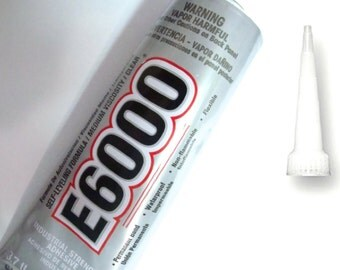 E6000 Adhesive with Applicator TIP, Waterproof/Flexible Glue for Metal, Leather, Porcelain, jewelry/Kumhimo/macrame /glue on End Caps