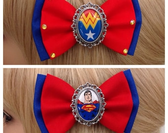 Wonder Woman a Superman hair bow clip rockabilly psychobilly pin up punk cameo blue red white star ladies girls avengers super hero comic