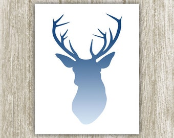 Deer Printable, Stag Silhouette, 8x10, Instant Download, Deer Printable Wall Art, Antler Print, Antler Wall Decor, Deer Head, Navy Blue