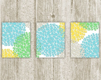 Chrysanthemum Printable, Flower Printable, Set of 3, 8x10, Instant Download, Chrysanthemum Art Print, Flower Wall Art, Yellow Blue Green