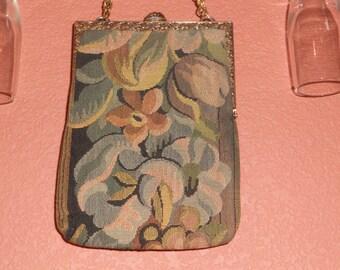 Delill, Vintage 1940's Floral Tapestry Handbag