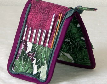 "SALE! 30% off 14 pair capacity Interchangeable knitting needle and crochet hook keeper case for needles 3.5"" to 5.5"" in length, to size 4"