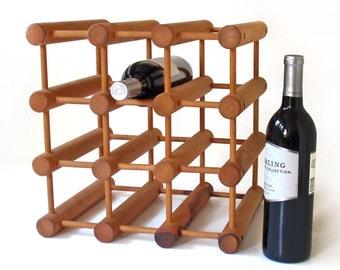 Vintage Nissen Denmark Teak Wine Rack Danish Modern