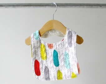 Baby/Toddler Bib, Colorful Feathers Cotton with Organic Bamboo Terry