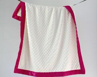 Baby Blanket, Ivory Minky Dot with Berry Satin Trim