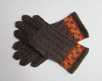 Wool Gloves Lace Wool Gloves Brown Wool Gloves Folk Gloves Womens Gifts Women Gifts Handmade Gloves Fingerless Gloves Fingerless Gloves