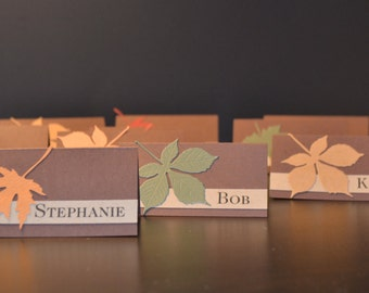 Custom Thanksgiving Table Place Cards, Fall Place Cards, Leaf Place Cards, Wedding Place Cards