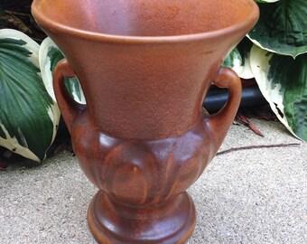 Vintage 1940's Unmarked Two Handled Autumn Burnt Orange Pottery Vase Urn  L815 (On Sale 35.00)