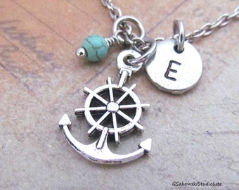 Anchor with Ship Steering Wheel Charm Necklace, Personalized Antique Silver Hand Stamped Initial Birthstone, Monogram Anchor Necklace