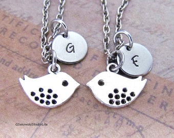 Little Bird 2 Necklaces, Best Friends Pair of Necklaces, Antique Silver Hand Stamped Initial BFF Friend Bird Charm Necklaces