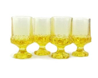 Juice or Wine Goblet * Tiffin Franciscan Madeira * Cornsilk Yellow * Set of 4
