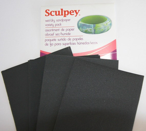 """8 piece pack of Wet/Dry Sandpaper Variety Pack 2.75"""" X 4.5"""" for polymer clay by Polyform/Sculpey"""