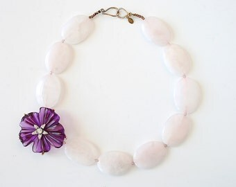 Wedding Jewelry Bridal Statement Necklace Vintage Rhinestone Brooch Purple Flower Brooch Pink Rose Quartz Gemstone Beads Sterling Silver