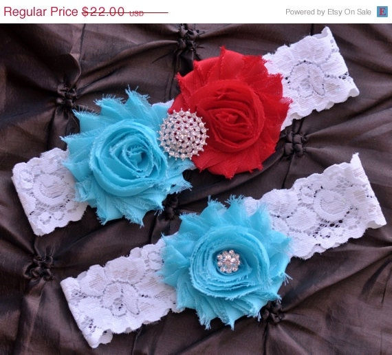 Red Wedding Garters: SALE Wedding Garter Bridal Garter Set White By