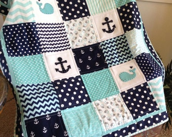 Nautical Anchor & Baby Whale quilt/Aqua Navy and White/available In 2 sizes