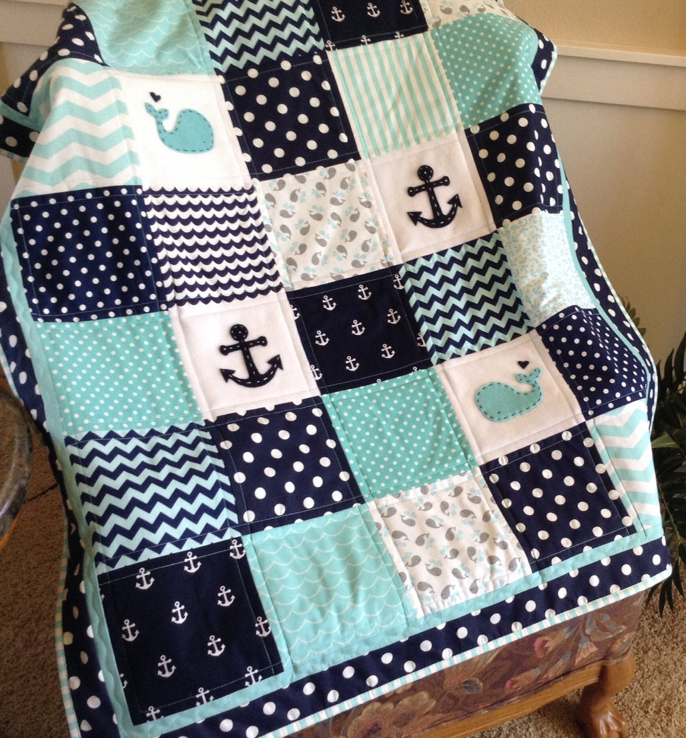Nautical anchor baby whale quilt aqua navy and by for Baby themed fabric