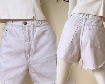 White high waisted cut off jean denim shorts