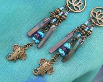 spiritual Ganesha earrings statement earrings zen earrings lotus earrings elephant earrings quartz crystal yoga boho gypsy style