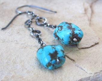 Sterling silver and turquoise earrings, turquoise nugget and oxidized silver earrings, southwestern western jewelry, turquoise drop earrings