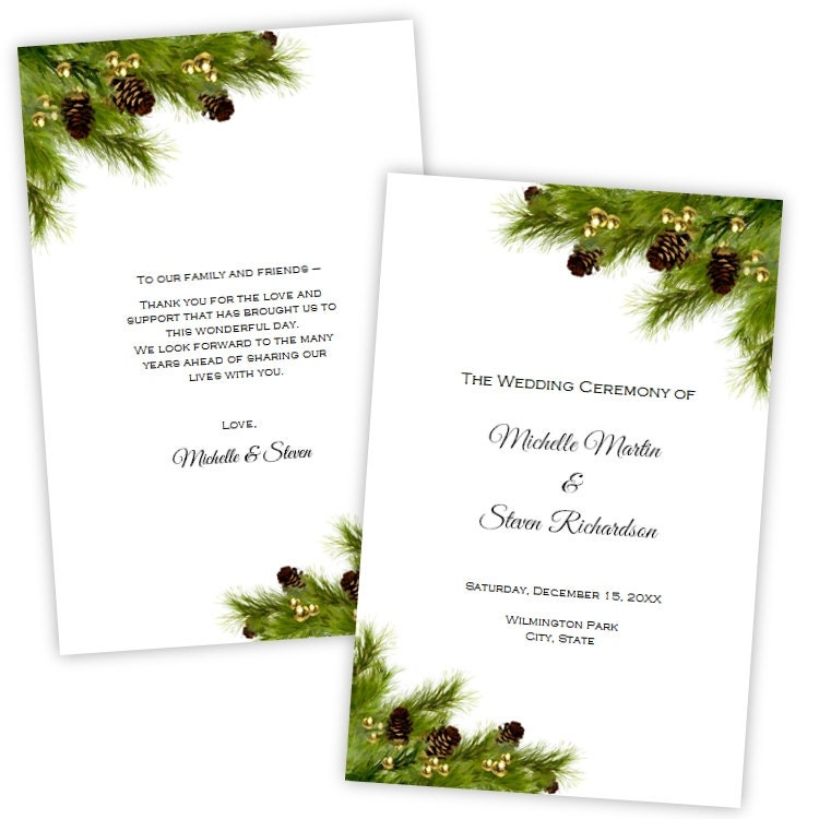 Folded wedding program template christmas pine cones diy zoom pronofoot35fo Images