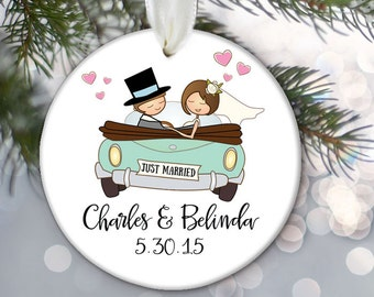 Just Married Personalized Christmas Ornament Just Married Ornament Bridal Shower Gift Custom Get away car Getaway car ornament OR231