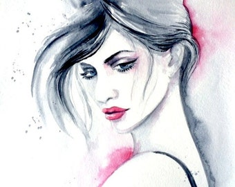 Fashion Illustration Original Watercolor by Lana Moes  - Fashion Illustration - Romantic Bliss