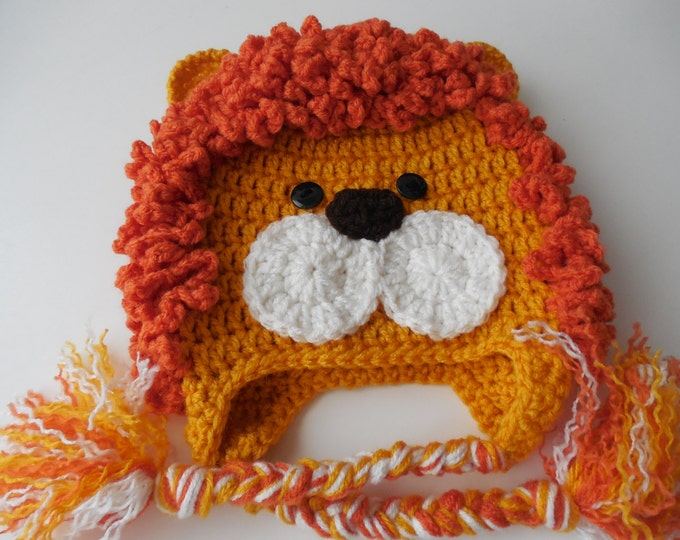 Lion Baby Animal Hat - Photo Prop - Gold and Dark Orange - Lion Costume Hat - Photo Prop Lion - Handmade Crochet - Made to Order